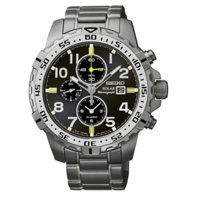 Seiko Men's 44mm Solar Alarm Chronograph Watch in Grey Ion Finish Stainless Steel