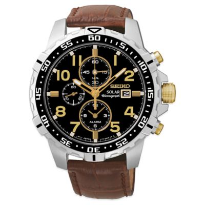 Seiko Men's 44mm Solar Alarm Chronograph Watch in Stainless Steel with Brown Leather Strap