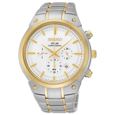 Seiko Men's 42mm Solar Alarm Chronograph Watch in Two-Tone Stainless Steel