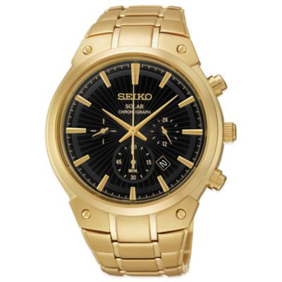Seiko Men's 42mm Solar Chronograph Watch in Goldtone Stainless Steel with Round Black Dial