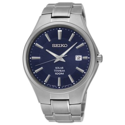 Seiko Men's 40mm Solar Blue Dial Watch in Titanium