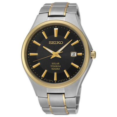 Seiko Men's 40mm Solar Watch in Two-Tone Titanium with Black Dial