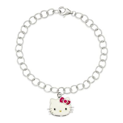 Hello Kitty Enameled Pink Bow Charm and 7-1/2-Inch Sterling Silver Bracelet