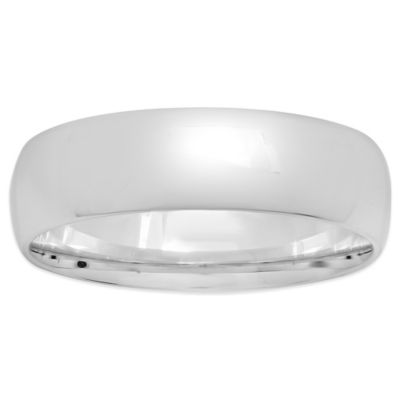 Sterling Silver 6mm Size 12.5 Men's Comfort-Fit Wedding Band