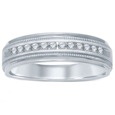 14K White Gold .25 cttw Channel-Set Diamond Size 9 Men's Milgrain Wedding Band
