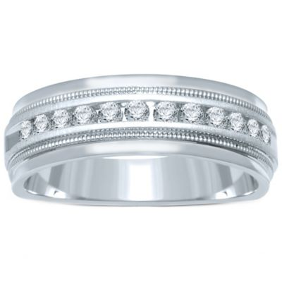 14K White Gold .50 cttw Channel-Set Diamond Size 9 Men's Milgrain Wedding Band
