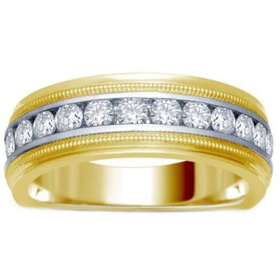 14K Yellow and White Gold .25 cttw Channel-Set Diamond Size 8.5 Men's Milgrain Wedding Band