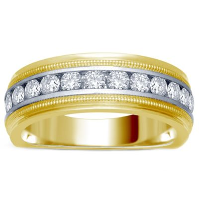 14K Yellow and White Gold .50 cttw Channel-Set Diamond Size 8 Men's Milgrain Wedding Band