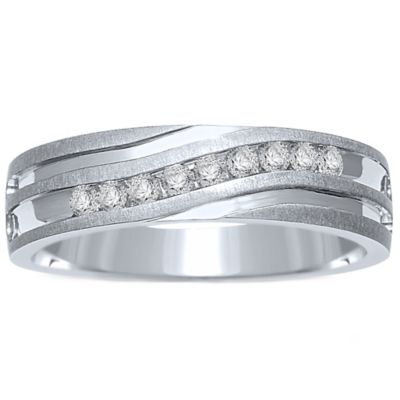 10K White Gold .25 cttw Channel-Set Diamond Size 10.5 Men's Slant Wedding Band