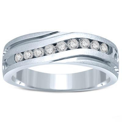 10K White Gold .50 cttw Channel-Set Diamond Size 9.5 Men's Slant Wedding Band