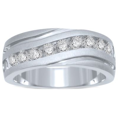10K White Gold 1.0 cttw Channel-Set Diamond Size 10 Men's Slant Wedding Band