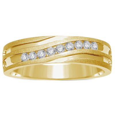 10K Yellow Gold .25 cttw Channel-Set Diamond Men's Slant Wedding Band