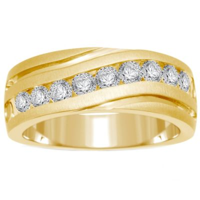 10K Yellow Gold 1.0 cttw Channel-Set Diamond Size 8 Men's Slant Wedding Band