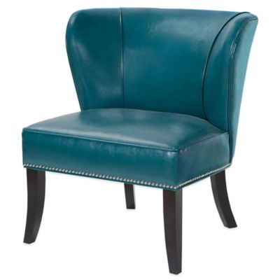 Madison Park Hilton Concave Back Armless Chair in Peacock