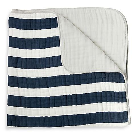 Buy Little Unicorn Stripe Cotton Muslin Quilt In Navy From