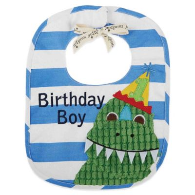 "Mud Pie® Dino ""Birthday Boy"" Bib in Blue/White/Green"