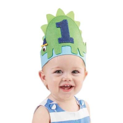 Mud Pie® Dino Birthday Crown Hat in Blue/Green