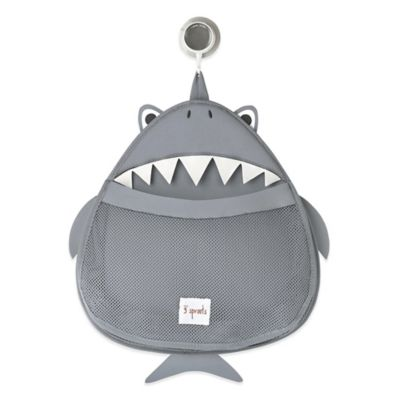 3 Sprouts Shark Bath Storage Bag in Grey/White