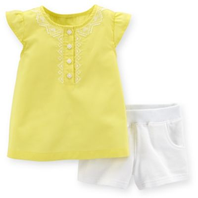 Carter's® Size 6M 2-Piece Flutter Sleeve Top and French Terry Short Set in Yellow/White