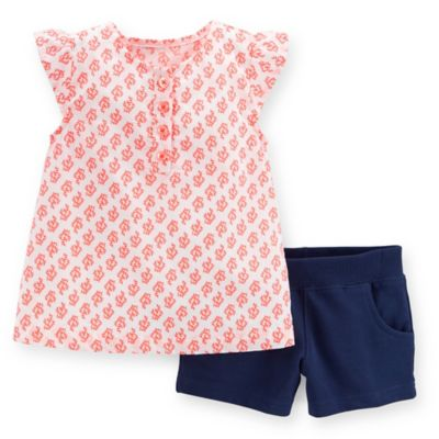 Carter's® Size 6M 2-Piece Flutter Sleeve Top and French Terry Short Set in Coral/White/Navy