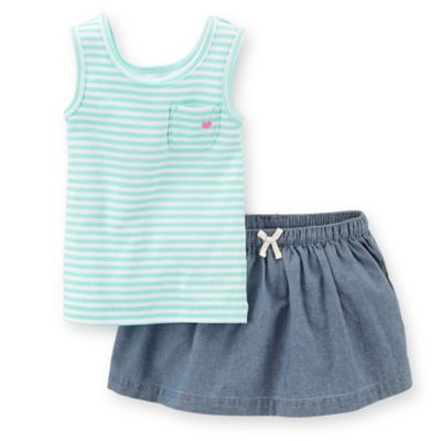 Carter's® Size 3M 2-Piece Tank and Chambray Skort Set in Aqua Stripe