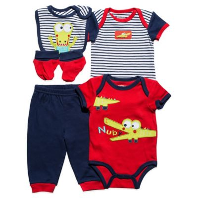 Nuby™ Baby Alligator Size 3-6M 5-Piece Set in Navy/Red