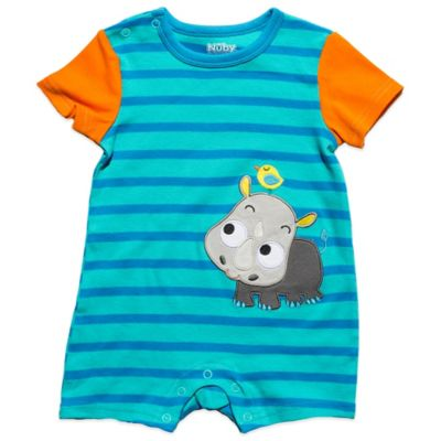 Nuby™ Size 6-9M Baby Rhino Romper in Blue Stripe/Orange