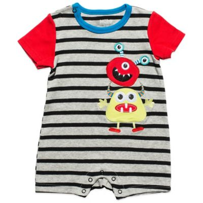Nuby™ Size 0-3M Baby Monster Romper in Grey/Black/Red