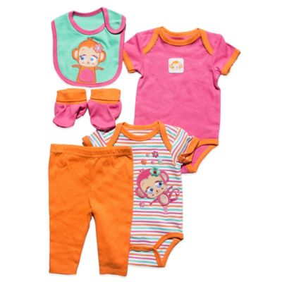 Nuby™ Baby Monkey Size 3-6M 5-Piece Set