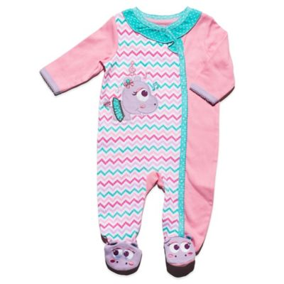 Nuby™ Baby Hippo Size 3-6M Chevron Footie in Pink/Multi