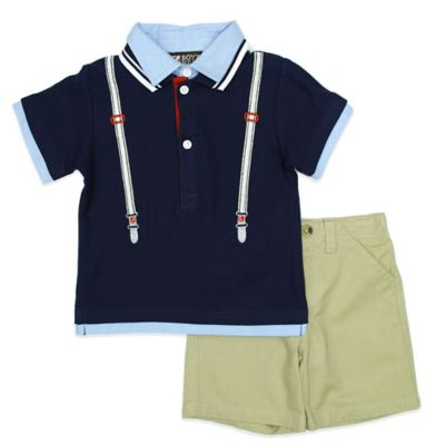 Boyz Wear Size 12M 2-Piece Mock Suspender Polo Shirt and Short Set in Navy