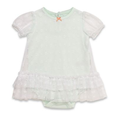 Baby Starters® Size 3M Bodysuit with Lace Overlay in Mint/White