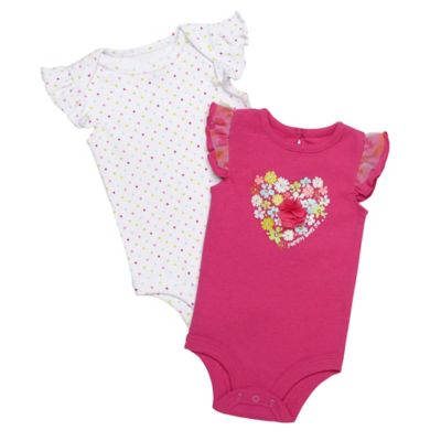 Baby Starters® Size 9M 2-Pack Bodysuit with Heart-Shaped Flower Applique/Print in Pink/White