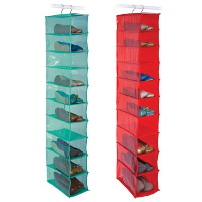 Closetware 10-Pocket Shoe Organizer in Red