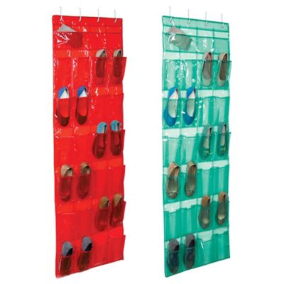 Closetware Over-the-Door 24-Pocket Shoe Organizer Red Orange