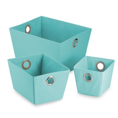 Studio 3B™ Heavyweight Shallow Grommet Tote in Aqua