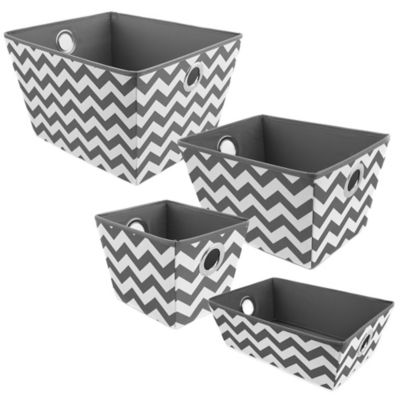 Studio 3B™ Heavyweight Small Grommet Tote in Grey Chevron