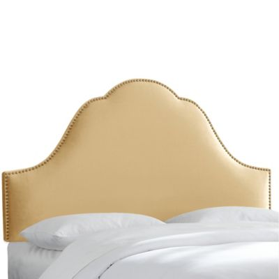 Skyline Furniture Arch Nail Button King Headboard in Velvet Buckwheat