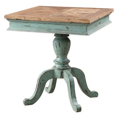 Uttermost Keyton Pedestal Accent Table in Turquoise