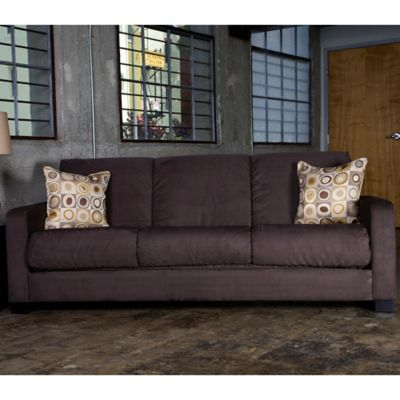 Handy Living Raisin Convert-a-Couch® in Mocha Microfiber with Geometric Circle Accent Pillows