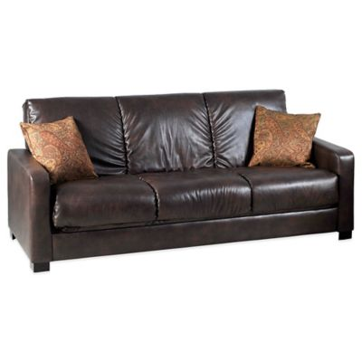 Handy Living Raisin Convert-a-Couch® in Renu Brown with Paisley Accent Pillows