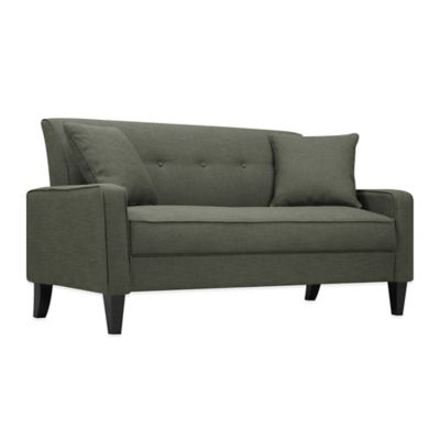 Handy Living Smoky Charcoal Grey Linen Sofa