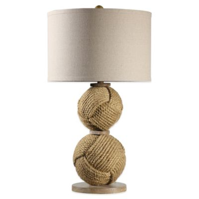 Double Ball Rope Table Lamp with Medium Drum Shade in Natural