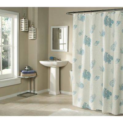 Seaside Script Shower Curtain in Sand