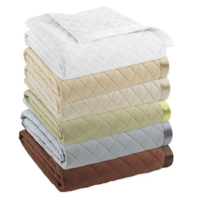 Micro Flannel® Quilted Satin-Trimmed Full/Queen Blanket in Chocolate