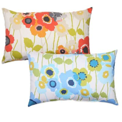 Pic-A-Poppy Oblong Throw Pillow in Blue