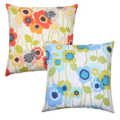 Pic-A-Poppy Square Throw Pillow in Blue