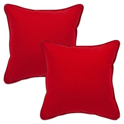 Pompeii Red Square Throw Pillow (Set of 2)