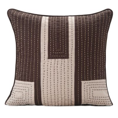 Welspun Handcrafted Throw Pillow in Brown/Cream