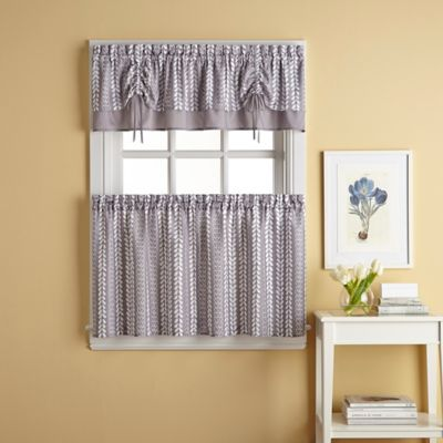 Bloom Tie-Up Window Curtain Valance in Grey